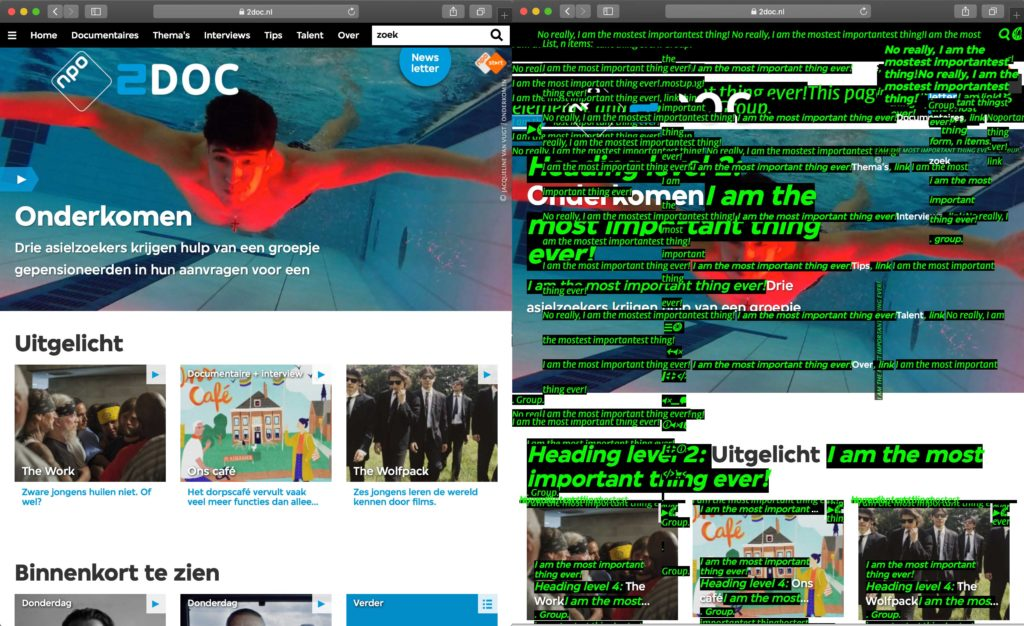 A page with an overkill of screaming green letters splattered all over the page, with the original homepage on the left.