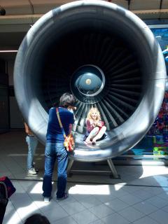 In een vliegtuigmotor
